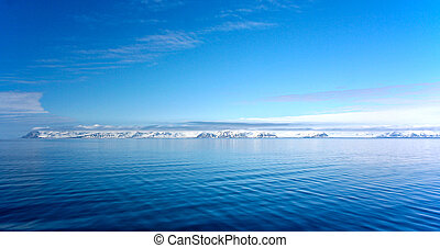 panorama of coast in Spitzbergen from Arctic ocean