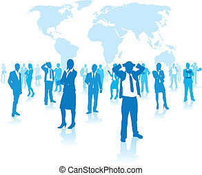 business people group on a world background