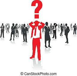 business people confused - business people group and a...