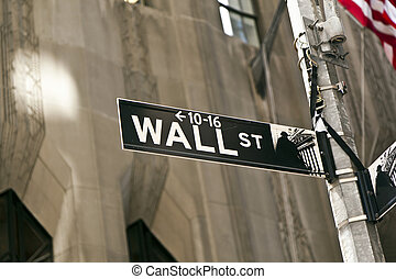 Wall Street sign in Manhattan New York - A Wall Street sign...