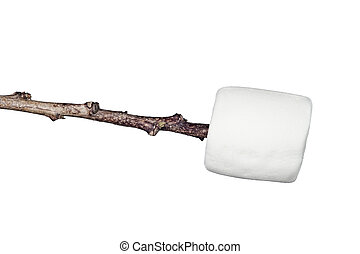 Marshmallow on a stick - A sweet, soft, chewy raw...