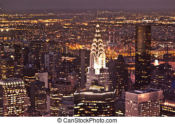 New York by night from Empire State Building - New York in...