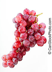 A bunch of red grapes on a white background.