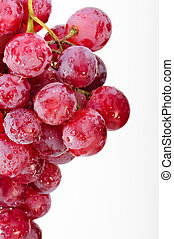 A bunch of red grapes on a white background