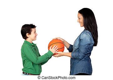 seine, Reichend,  basketball, Mutter, Sohn