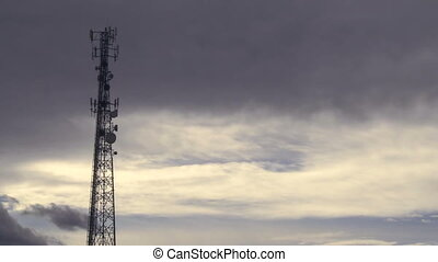 Communication Tower - Communication tower with time lapse...
