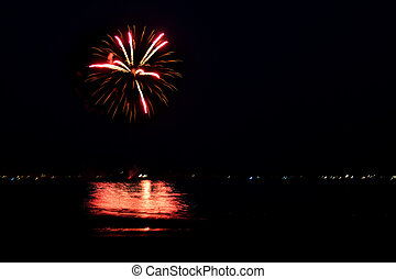 Fireworks Over Water with Reflections