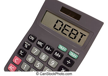 debt written on display of an old calculator on white background in perspective