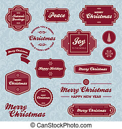 Christmas holiday labels - Set of vintage Christmas holiday...
