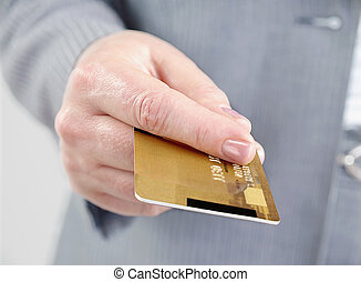 Credit card. - Hand with credit card