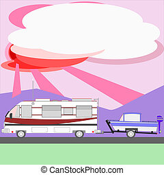 Motor home towing boat at sunset - Illustration of a motor...