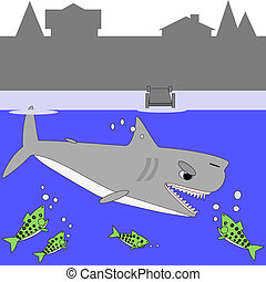 Cartoon shark and lake trout - Cartoon illustration of a...