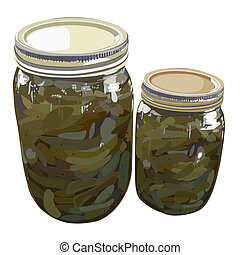 Home canned sweet pickles - Illustration of a quart and a...