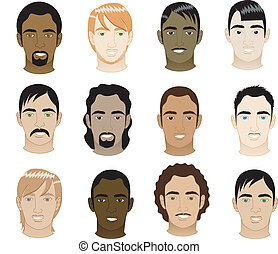 Mens Faces 5 - Vector Illustration of 12 different mens...