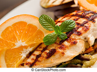 Grilled chicken breast on ratatouille bed - delicious...