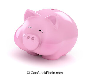Happy Piggy Bank - 3D Illustration of a Fat Happy Piggy Bank