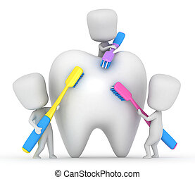 Kids Brushing a Tooth - 3D Illustration of Kids Brushing a...
