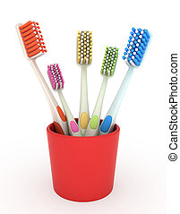 Toothbrush Holder - 3D Illustration of a Toothbrush Holder...