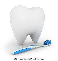 Dental Care - 3D Illustration of a Toothbrush and a Tooth