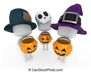 Trick or Treat - 3D Illustration of Kids Trick or Treating