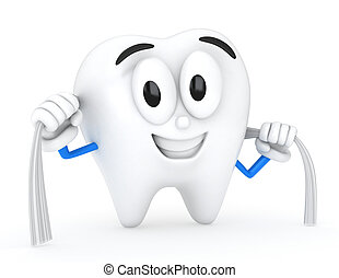 Tooth Flossing - 3D Illustration of a Tooth Flossing