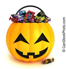 Trick or Treat - 3D Illustration of a Pumpkin Basket Full of...