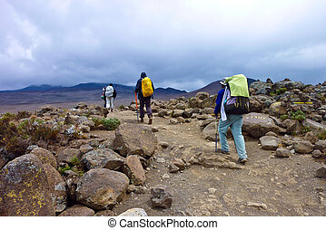 people climbing the Mount Kilimanjaro, the highest mountain...