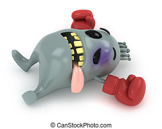 Knocked Out Bacteria - 3D Illustration of a Knocked Out...