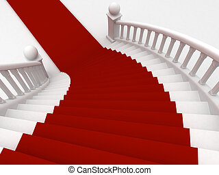 Red Carpet Staircase - 3D Illustration of a Staircase...
