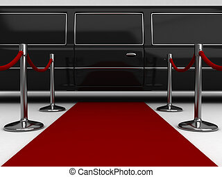 Red Carpet - 3D Illustration of a Red Carpet Extending to a...