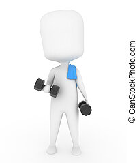 Man Working Out - 3D Illustration of a Man Working Out