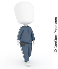 Pedometer - 3D Illustration of a Walking Man Wearing a...