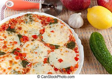 apetitoso, pizza, mozzarella, queso, fruta