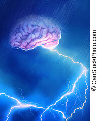 Brain Storm - A Brain caught in the storm giving off...