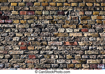 red and yellow brick wall - old red and yellow brick wall