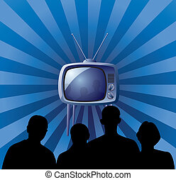 family watching retro tv set - vector illustration of family...
