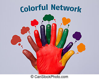 Colorful happy finger smileys with network sign