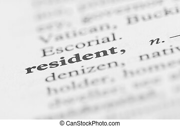 Dictionary Series - Resident