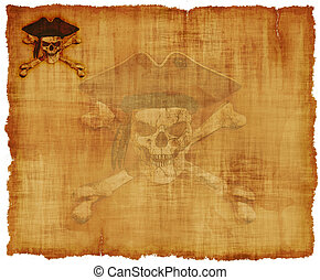 Grunge Pirate Skull Parchment - An old worn parchment with a...