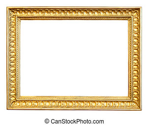 old gilded frame. Isolated over white background with...
