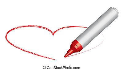 Red felt-tip pen draws a heart