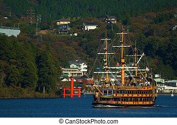 Ship trip in ashi lake, Japan - Ashi lake in Hakone, Japan...