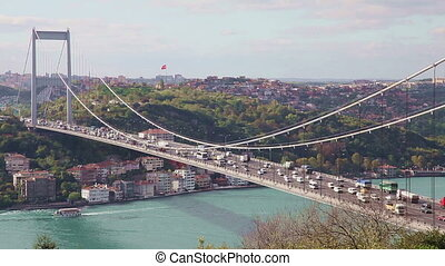 Bosphorus with Bridge 2 - Bosphorus with Traffic on the...