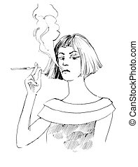 woman smoking a cigarette - drawing illustration of woman...