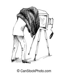 retro photographer making a photo - vintage drawing...