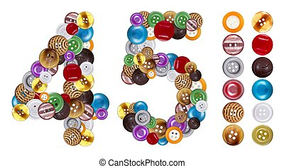 Numbers 4 and 5 made of clothing buttons Standalone design...
