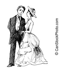 vintage couple - vintage drawing illustration of retro...