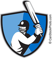 cricket player batsman with bat shield - illustration of a...