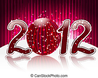 eps 10, vector red 2012 with shiny ball on bright  background with stripes