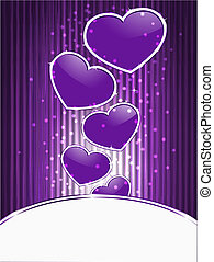 vector violet hearts on  abstract  background with stripes